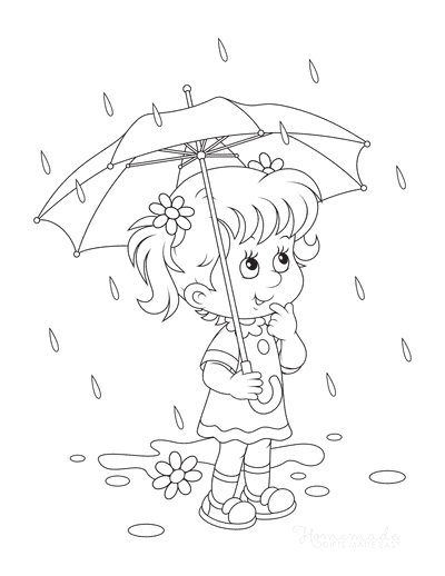 Spring Coloring Pages Cute Girl in Rain Umbrella