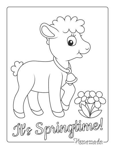 Spring Coloring Pages Cute Lamb Preschoolers
