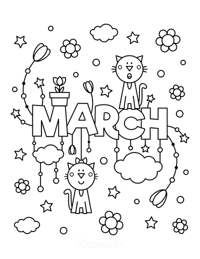 Spring Coloring Pages Cute March Poster to Color