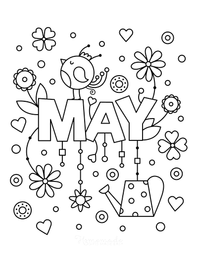 Spring Coloring Pages Cute May Poster to Color