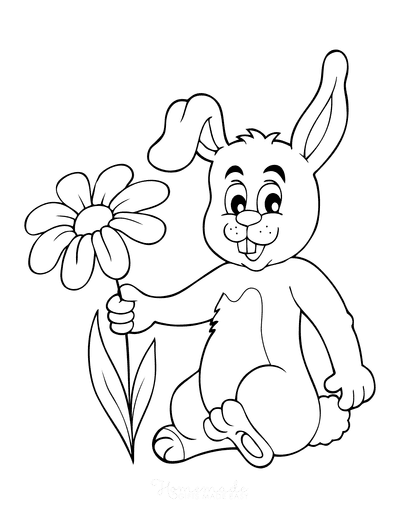 Spring Coloring Pages Cute Rabbit With Flower Cartoon