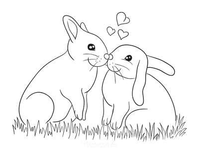 Spring Coloring Pages Cute Rabbits in Love