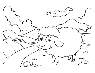 Spring Coloring Pages Cute Sheep