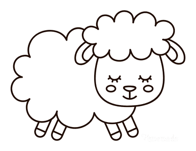 Spring Coloring Pages Cute Sheep Outline
