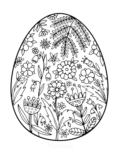 Spring Coloring Pages Egg Flower Doodle for Adults