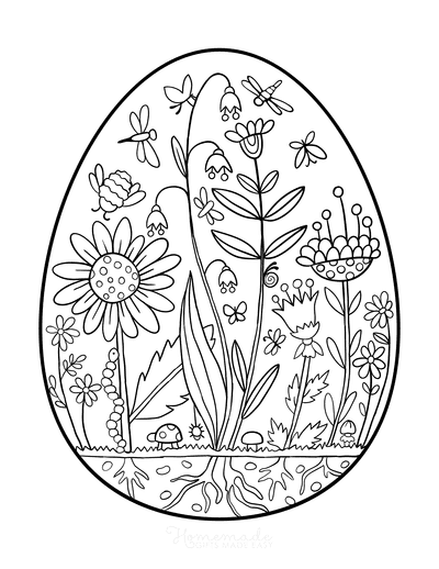 Spring Coloring Pages Egg Garden Scene