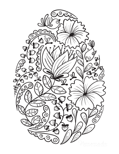 Spring Coloring Pages Egg of Spring Flowers