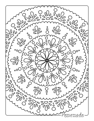 Spring Coloring Pages Flower Mandala Detailed
