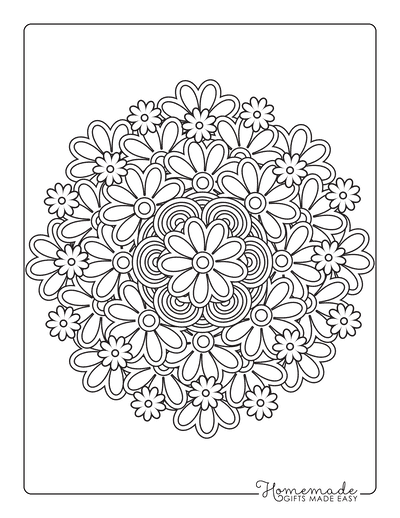 Spring Coloring Pages Flower Mandala Doodle