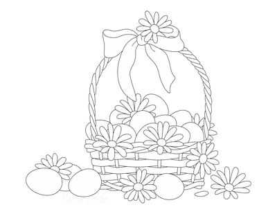 Spring Coloring Pages Flowers Basket Eggs