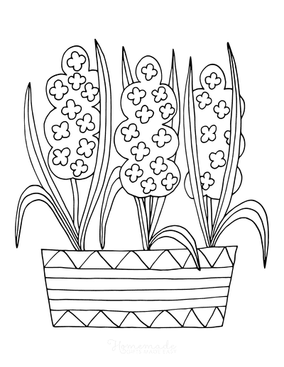 Spring Coloring Pages Flowers in Pot