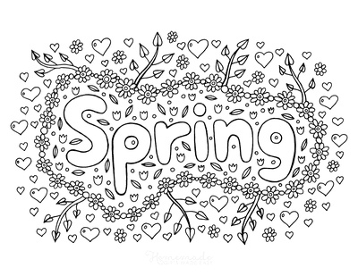 Spring Coloring Pages Flowers New Growth Branches Sign