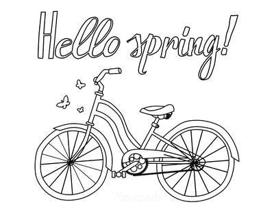 Spring Coloring Pages Hello Spring Bicycle