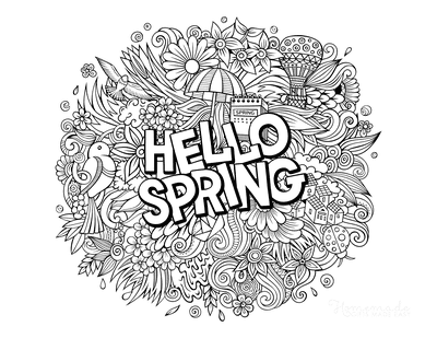 Spring Coloring Pages Hello Spring Detailed Doodle for Adults