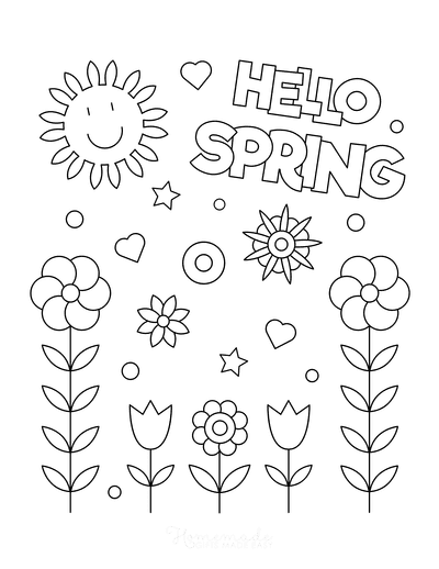 Spring Coloring Pages Hello Spring Flowers Poster to Color