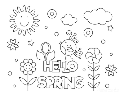 Spring Coloring Pages Hello Spring Kids Poster to Color