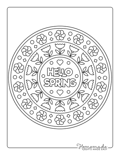 Spring Coloring Pages Hello Spring Mandala for Kids