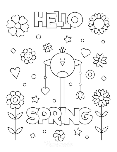 Spring Coloring Pages Hello Spring Poster to Color