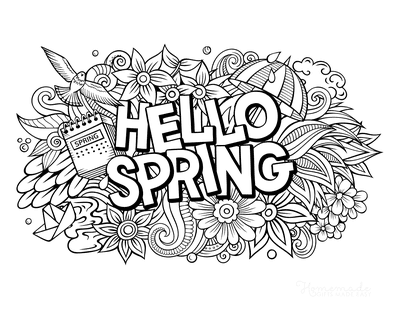 Spring Coloring Pages Hello Spring Teen Doodle to Color