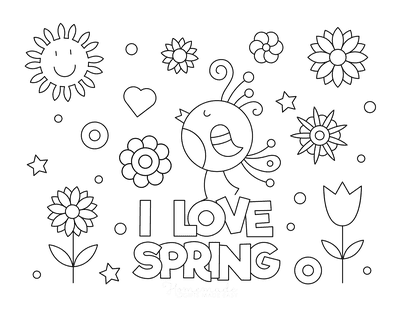 Spring Coloring Pages I Love Spring Poster to Color