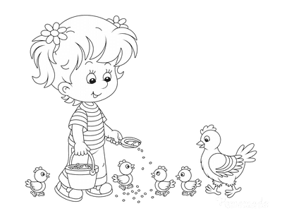 Spring Coloring Pages Little Girl Feeding Chickens Chicks