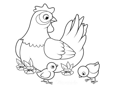 Spring Coloring Pages Mother Hen Chicks Flowers