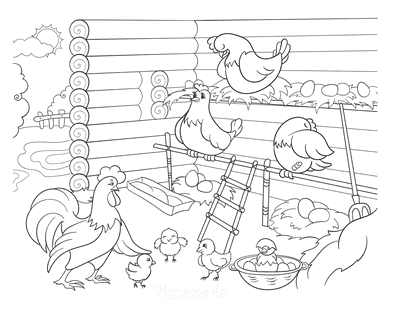 Spring Coloring Pages Mother Hens Nests Chicks