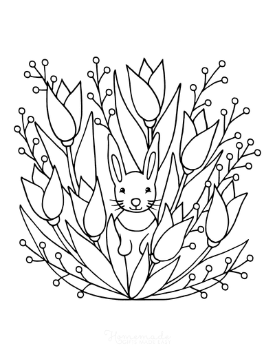 Spring Coloring Pages Rabbit in Tulips