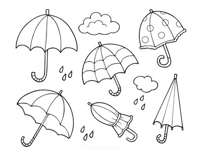 Spring Coloring Pages Rain Umbrellas