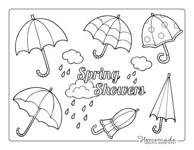 Spring Coloring Pages Rain Umbrellas