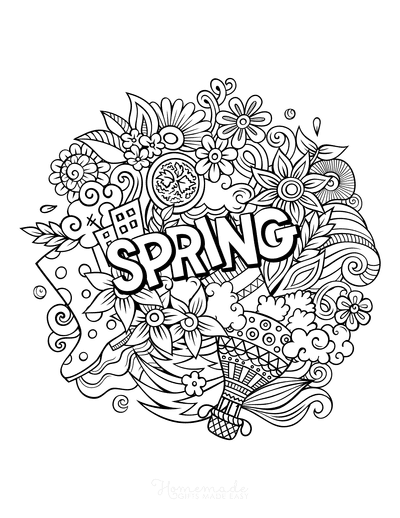 Spring Coloring Pages Spring Doodle Teens