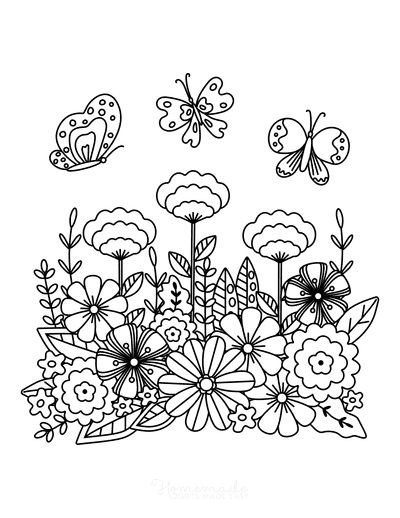 Spring Coloring Pages Spring Flowers Butterflies Detailed