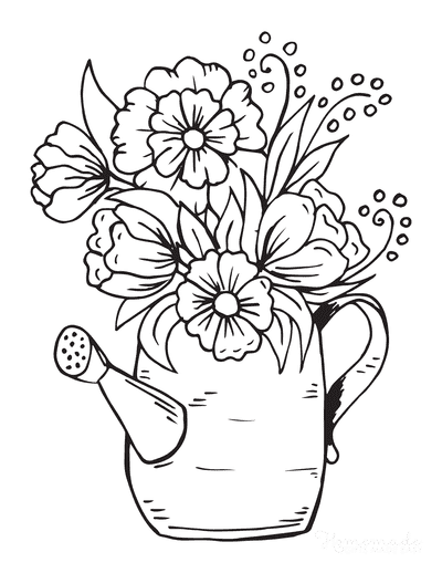 Spring Coloring Pages Spring Flowers Watering Can