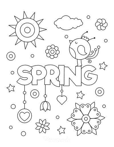 Spring Coloring Pages Spring Poster to Color