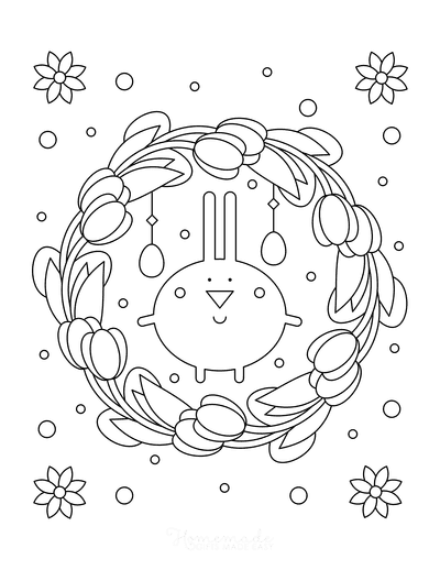 Spring Coloring Pages Tulip Wreath Flowers Eggs