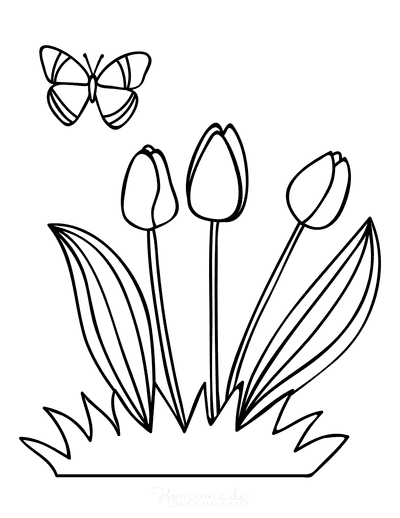 Spring Coloring Pages Tulips Butterfly