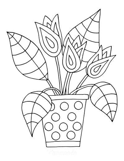 Spring Coloring Pages Tulips in Pot