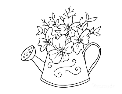Spring Coloring Pages Watering Can With Flowers