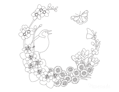 Spring Coloring Pages Wreath Bird New Buds