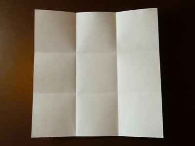 origami envelope folded in thirds both ways