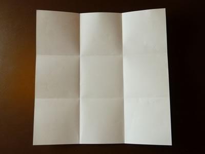 origami envelope folded in thirds both ways