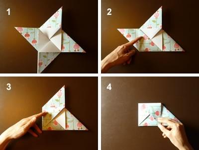 origami envelope fold in corners of pinwheel