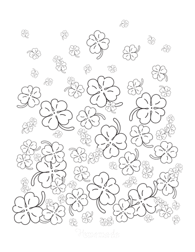 St Patricks Day Coloring Pages 4 Leaf Clover Shamrocks