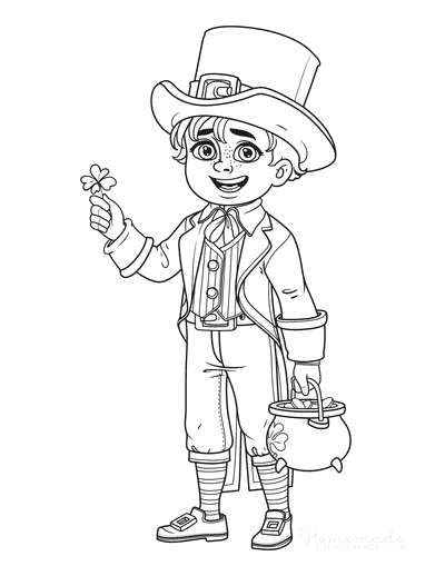 St Patricks Day Coloring Pages Boy Leprechaun