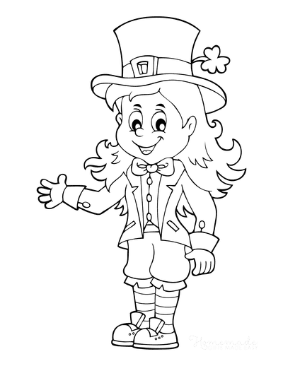 St Patricks Day Coloring Pages Girl Leprechaun