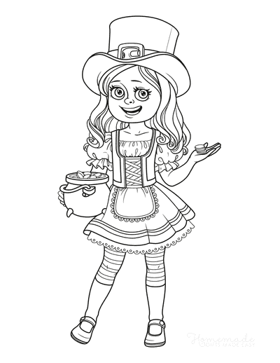 St Patricks Day Coloring Pages Girl Leprechaun Costume