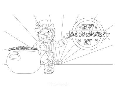 St Patricks Day Coloring Pages Happy Day Leprechaun Gold