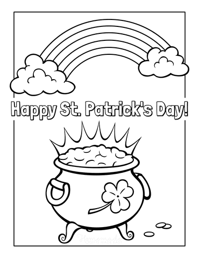 St Patricks Day Coloring Pages Happy Day Rainbow Gold