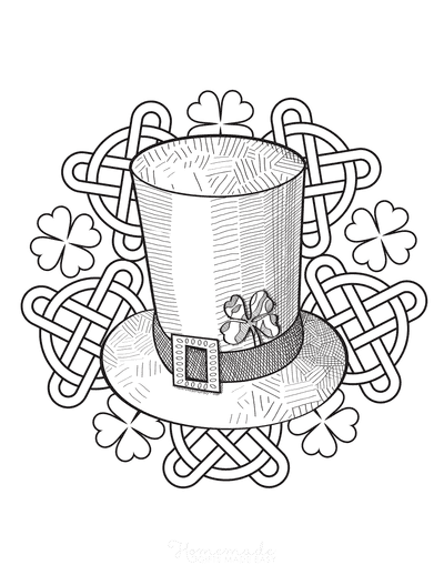 St Patricks Day Coloring Pages Hat Celtic Knots Shamrocks