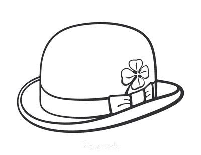 St Patricks Day Coloring Pages Hat With Shamrock